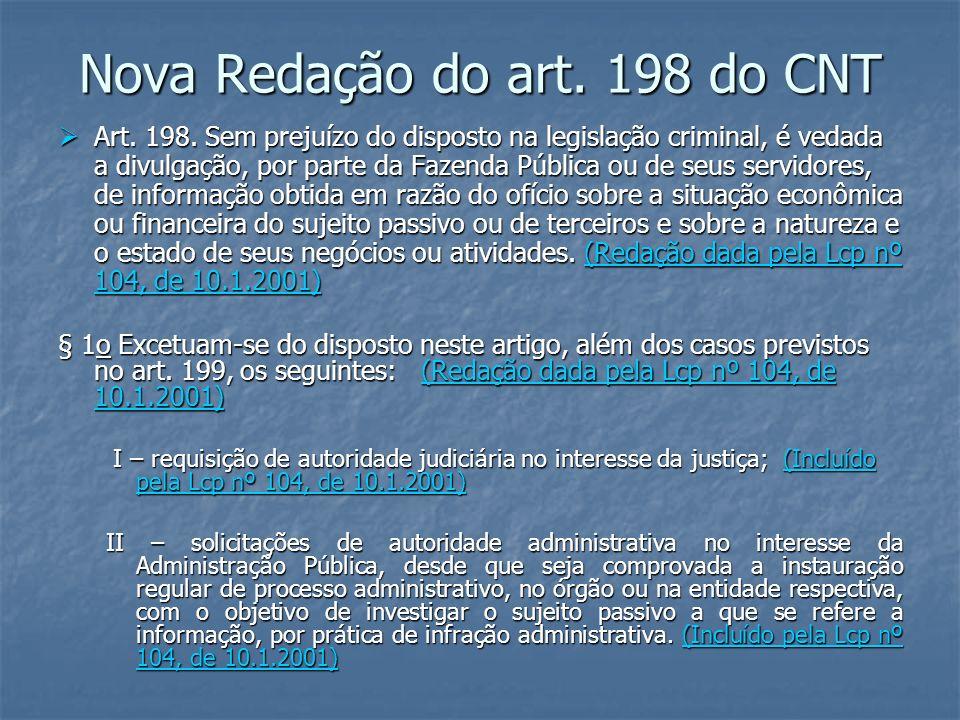 Nova Redação do art.198 do CNT Art. 198.
