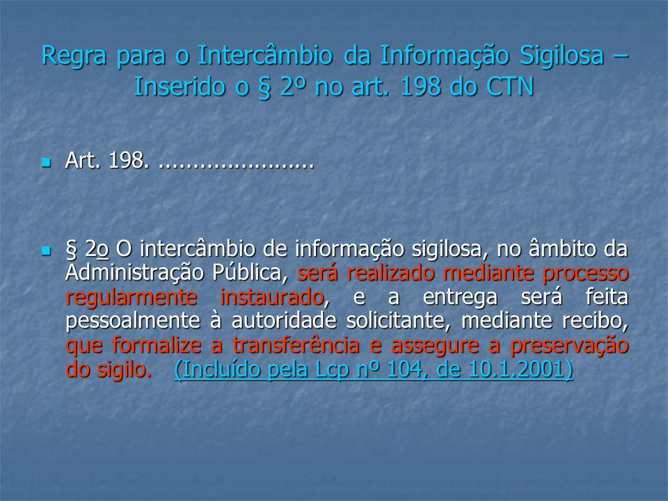 Regra para o Intercâmbio da Informação Sigilosa – Inserido o § 2º no art.