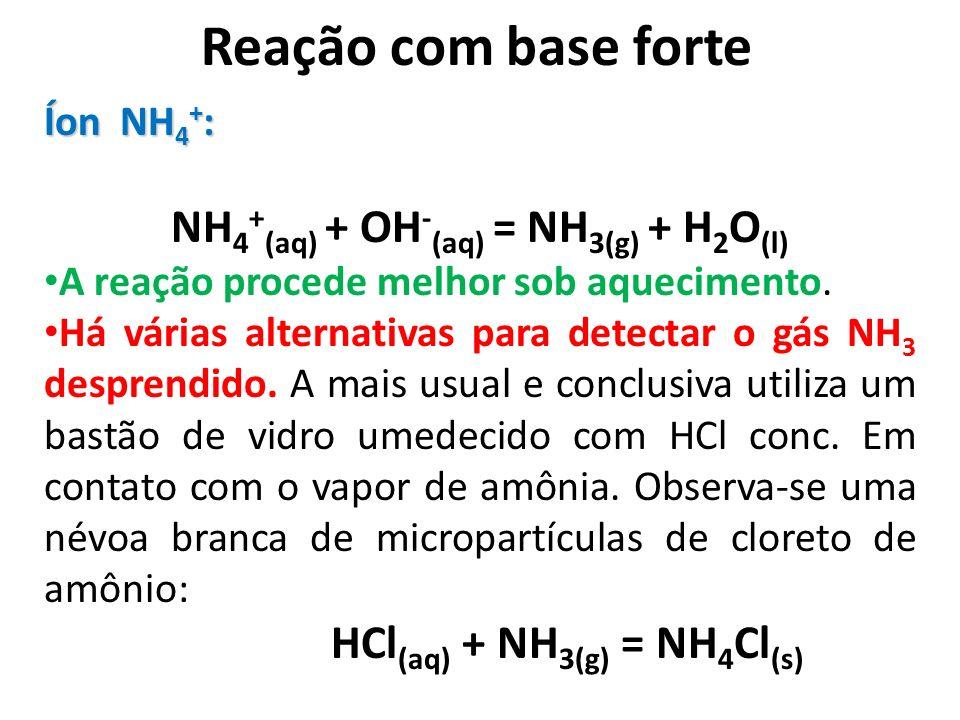 Reação com base forte Íon NH 4 + : NH 4 + (aq) + OH - (aq) = NH 3(g) + H 2 O (l) A reação procede melhor sob aquecimento. Há várias alternativas para