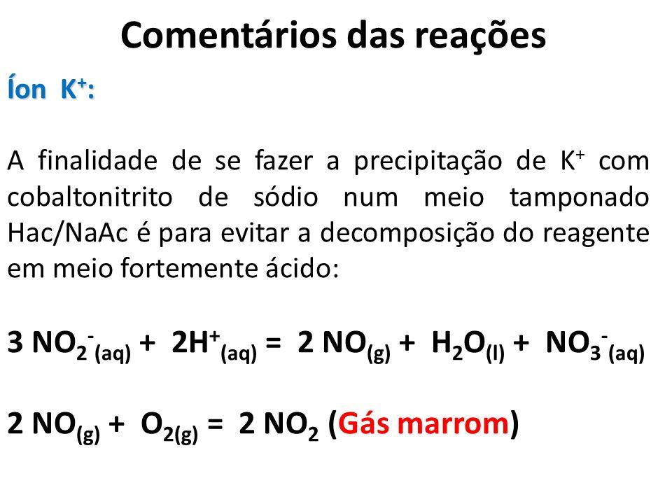 Comentários das reações Íon K + : A finalidade de se fazer a precipitação de K + com cobaltonitrito de sódio num meio tamponado Hac/NaAc é para evitar