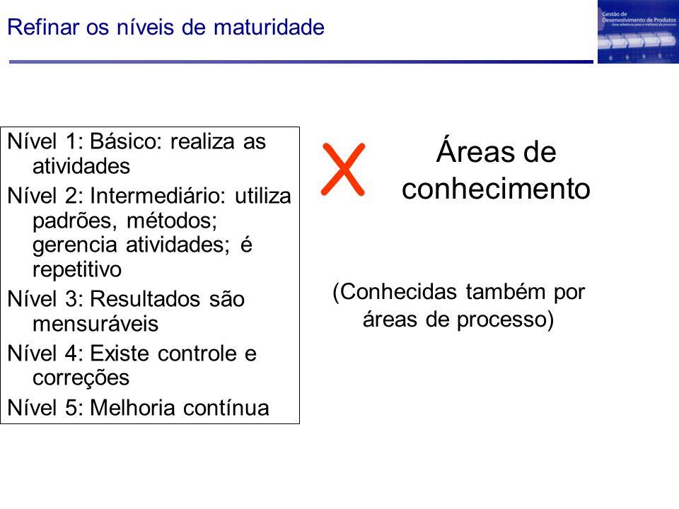 Refinar os níveis de maturidade Nível 1: Básico: realiza as atividades Nível 2: Intermediário: utiliza padrões, métodos; gerencia atividades; é repeti
