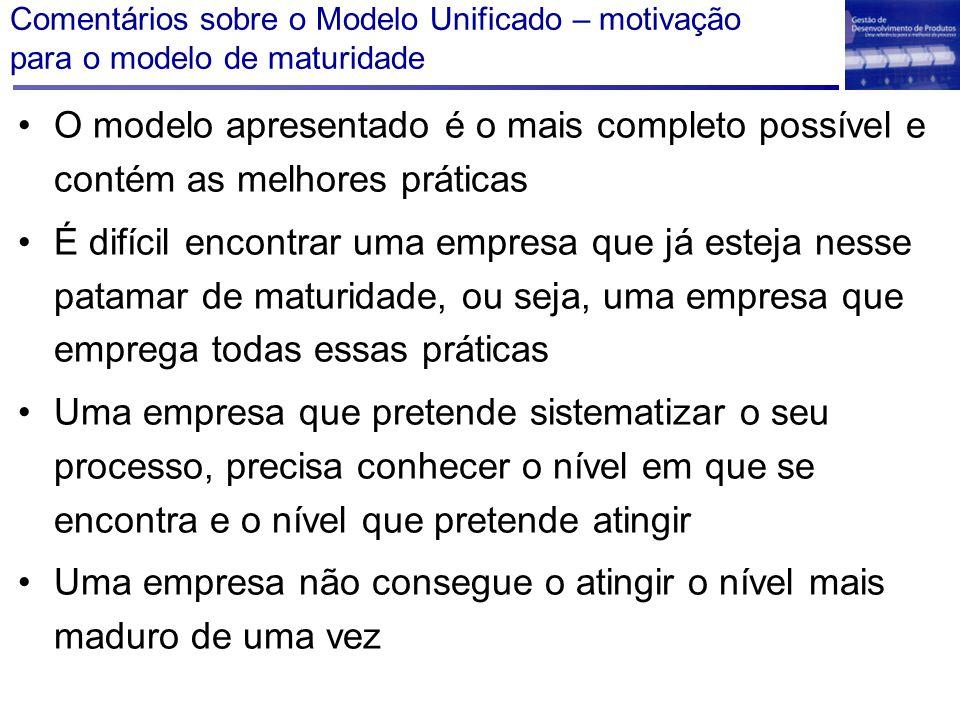 Comentários sobre o Modelo Unificado – motivação para o modelo de maturidade O modelo apresentado é o mais completo possível e contém as melhores prát