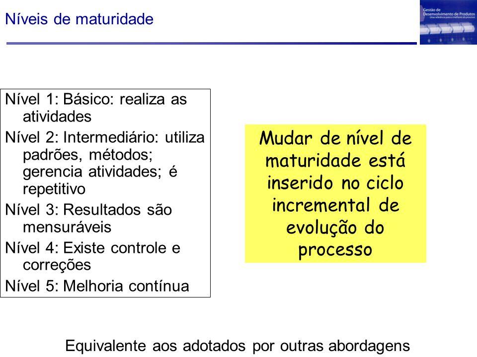 Níveis de maturidade Nível 1: Básico: realiza as atividades Nível 2: Intermediário: utiliza padrões, métodos; gerencia atividades; é repetitivo Nível