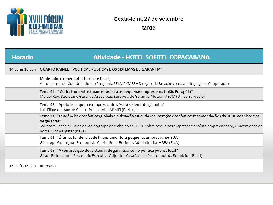 HorarioAtividade - HOTEL SOFITEL COPACABANA 14:00 às 16:00hQUARTO PAINEL: