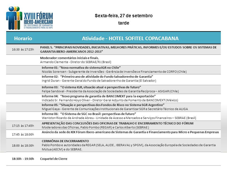 HorarioAtividade - HOTEL SOFITEL COPACABANA 16:30 às 17:15h PANEL 5. PRINCIPAIS NOVIDADES, INICIATIVAS, MELHORES PRÁTICAS, INFORMES E/OU ESTUDOS SOBRE