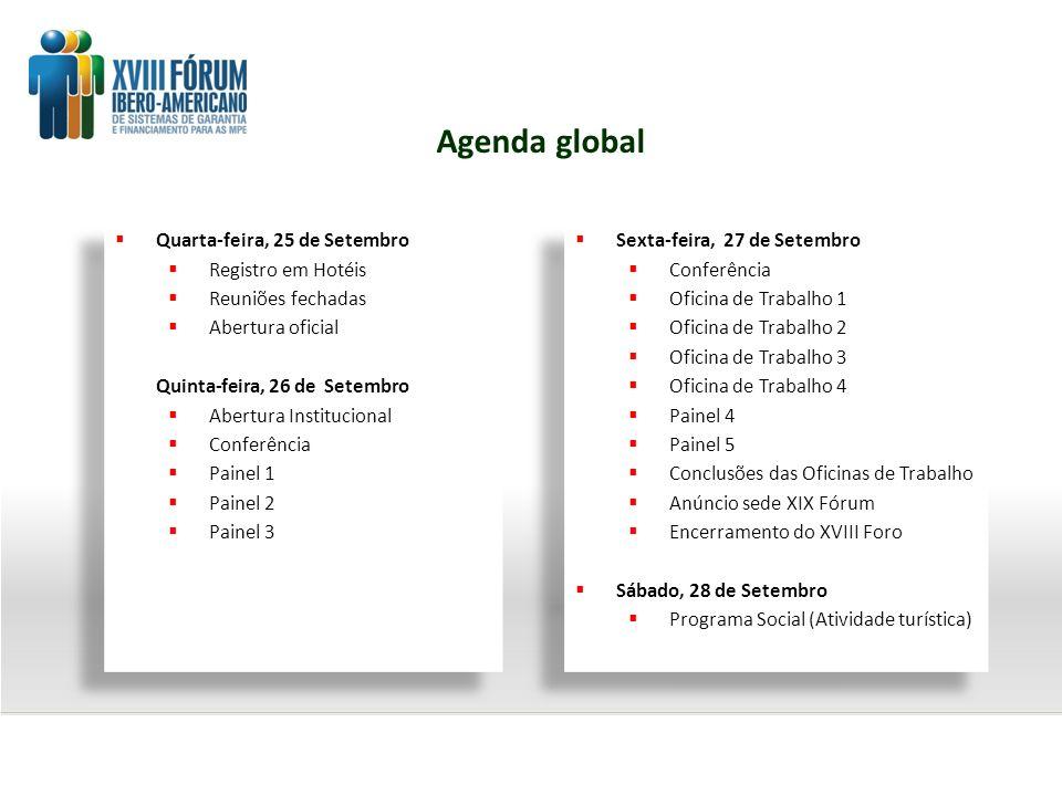 Agenda global Quarta-feira, 25 de Setembro Registro em Hotéis Reuniões fechadas Abertura oficial Quinta-feira, 26 de Setembro Abertura Institucional C