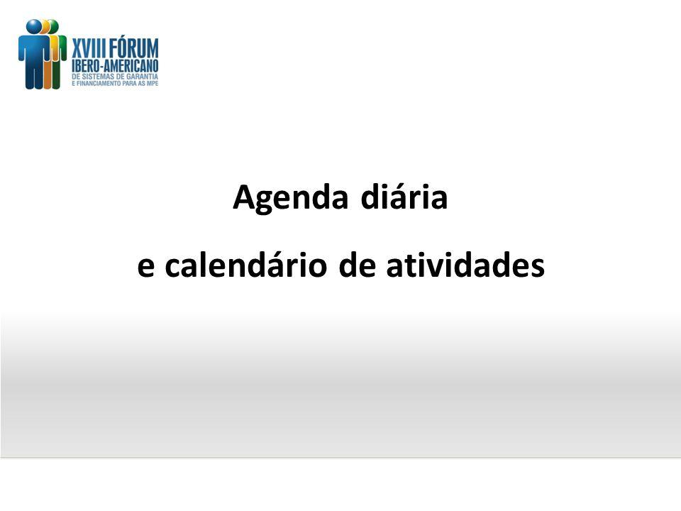 Agenda diária e calendário de atividades