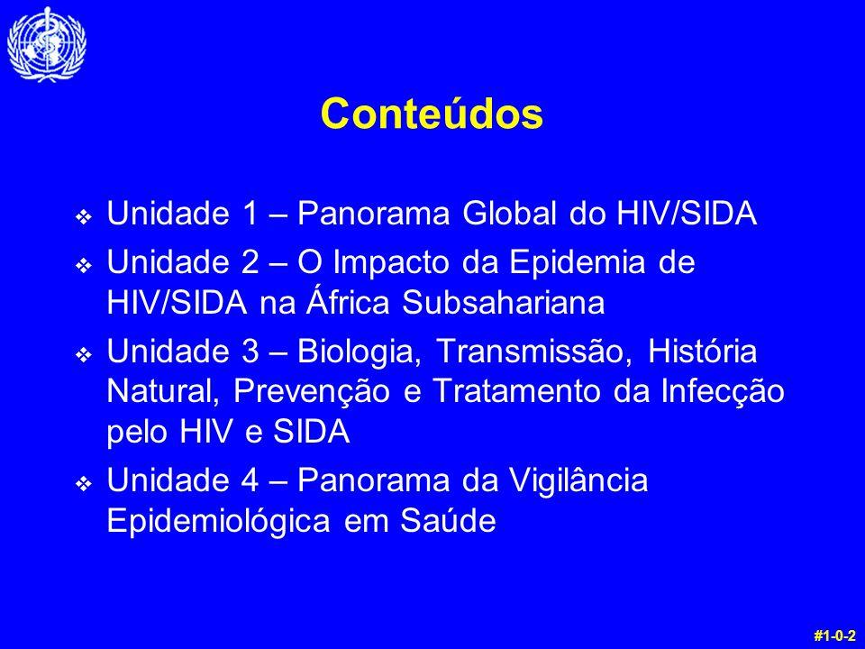 Conteúdos Unidade 1 – Panorama Global do HIV/SIDA Unidade 2 – O Impacto da Epidemia de HIV/SIDA na África Subsahariana Unidade 3 – Biologia, Transmiss