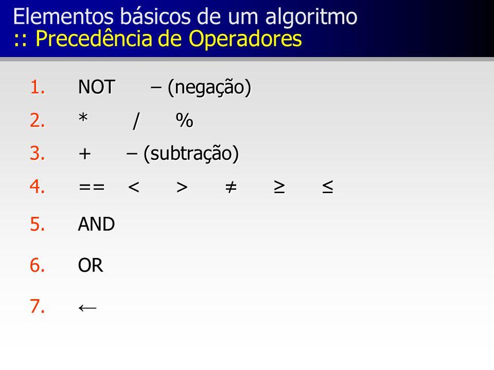 Elementos básicos de um algoritmo :: Precedência de Operadores 1.
