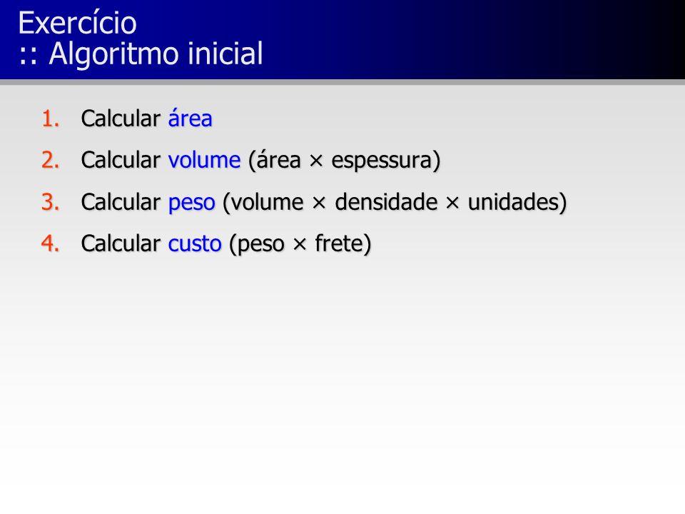 Exercício :: Algoritmo inicial 1.Calcular área 2.Calcular volume (área × espessura) 3.Calcular peso (volume × densidade × unidades) 4.Calcular custo (peso × frete)