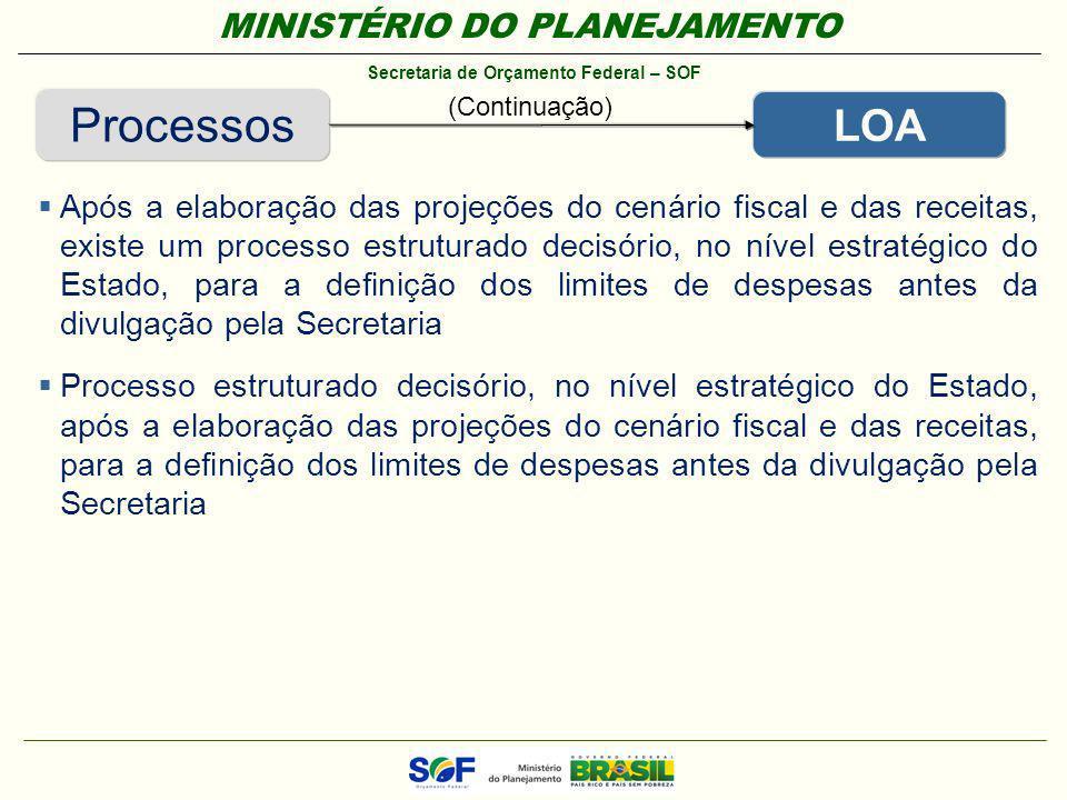MINISTÉRIO DO PLANEJAMENTO Secretaria de Orçamento Federal – SOF Processos LOA Após a elaboração das projeções do cenário fiscal e das receitas, exist