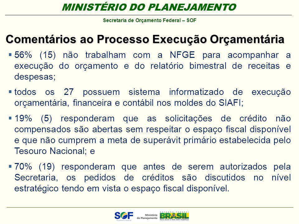MINISTÉRIO DO PLANEJAMENTO Secretaria de Orçamento Federal – SOF Comentários ao Processo Execução Orçamentária 56% (15) não trabalham com a NFGE para
