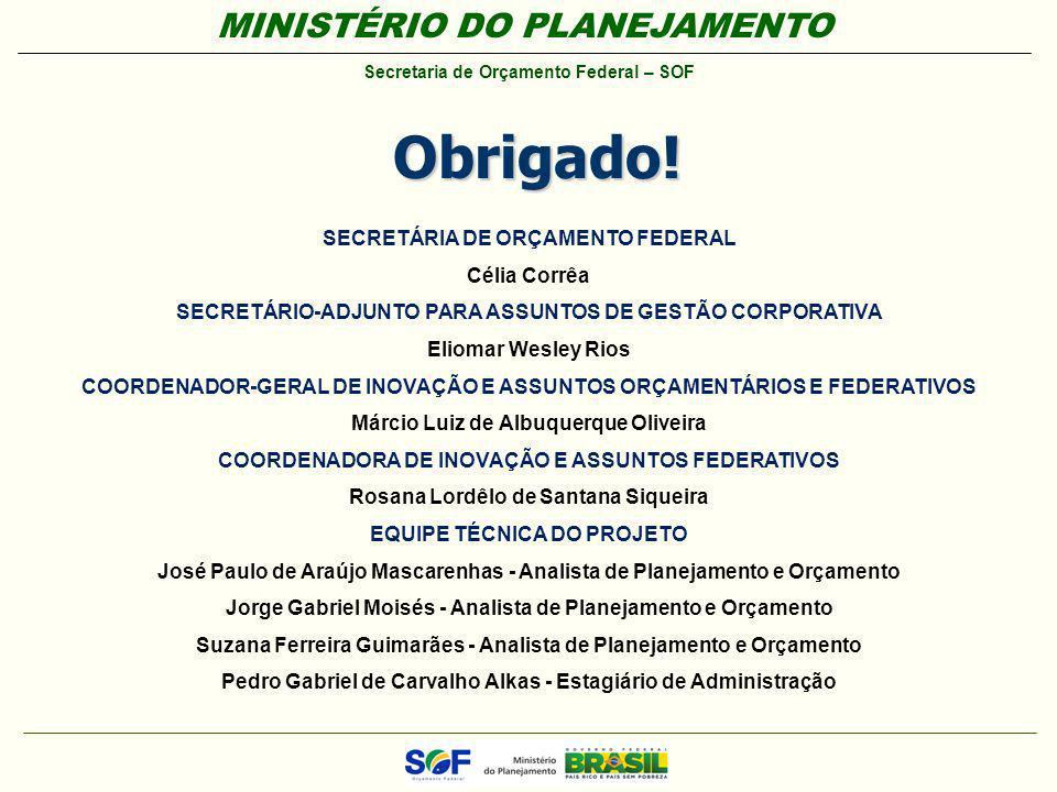MINISTÉRIO DO PLANEJAMENTO Secretaria de Orçamento Federal – SOF SECRETÁRIA DE ORÇAMENTO FEDERAL Célia Corrêa SECRETÁRIO-ADJUNTO PARA ASSUNTOS DE GEST