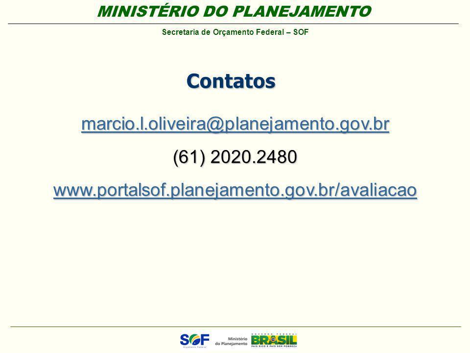 MINISTÉRIO DO PLANEJAMENTO Secretaria de Orçamento Federal – SOF Contatos marcio.l.oliveira@planejamento.gov.br (61) 2020.2480 www.portalsof.planejame