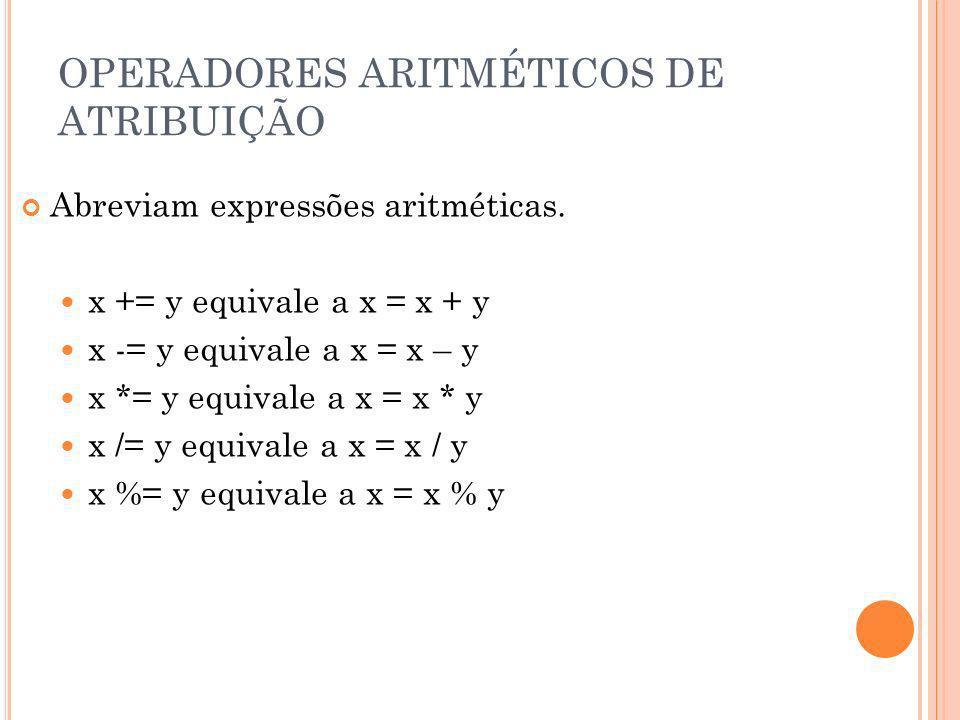 OPERADORES ARITMÉTICOS DE ATRIBUIÇÃO Abreviam expressões aritméticas. x += y equivale a x = x + y x -= y equivale a x = x – y x *= y equivale a x = x