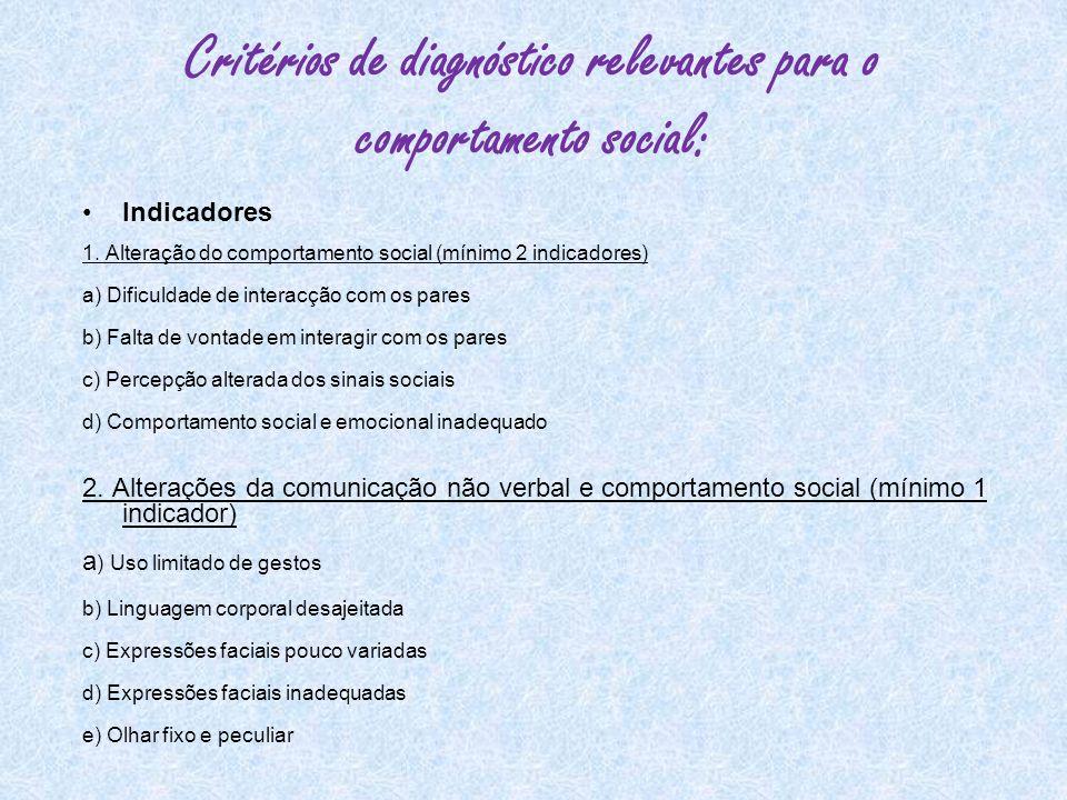 Critérios de diagnóstico relevantes para o comportamento social: Indicadores 1. Alteração do comportamento social (mínimo 2 indicadores) a) Dificuldad