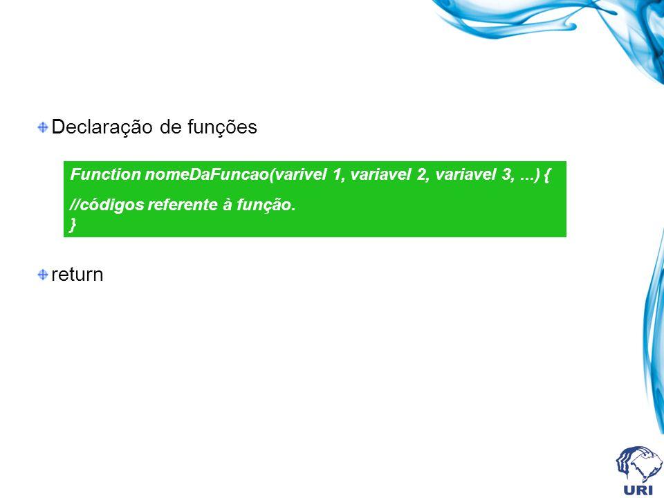 Declaração de funções return Function nomeDaFuncao(varivel 1, variavel 2, variavel 3,...) { //códigos referente à função. }