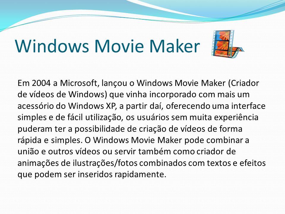 Windows Movie Maker Em 2004 a Microsoft, lançou o Windows Movie Maker (Criador de vídeos de Windows) que vinha incorporado com mais um acessório do Wi