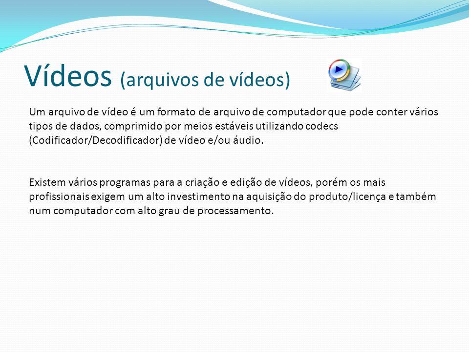 Vídeos (arquivos de vídeos) Um arquivo de vídeo é um formato de arquivo de computador que pode conter vários tipos de dados, comprimido por meios estáveis utilizando codecs (Codificador/Decodificador) de vídeo e/ou áudio.