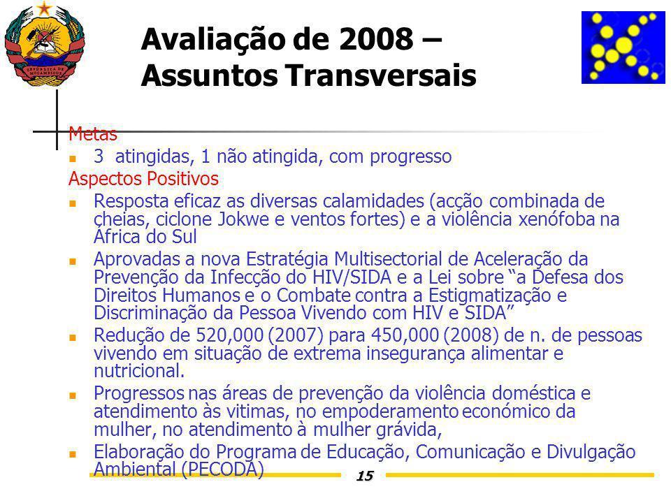 15 Avaliação de 2008 – Assuntos Transversais Metas 3 atingidas, 1 não atingida, com progresso Aspectos Positivos Resposta eficaz as diversas calamidades (acção combinada de cheias, ciclone Jokwe e ventos fortes) e a violência xenófoba na África do Sul Aprovadas a nova Estratégia Multisectorial de Aceleração da Prevenção da Infecção do HIV/SIDA e a Lei sobre a Defesa dos Direitos Humanos e o Combate contra a Estigmatização e Discriminação da Pessoa Vivendo com HIV e SIDA Redução de 520,000 (2007) para 450,000 (2008) de n.