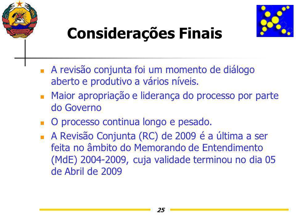25 Considerações Finais A revisão conjunta foi um momento de diálogo aberto e produtivo a vários níveis.