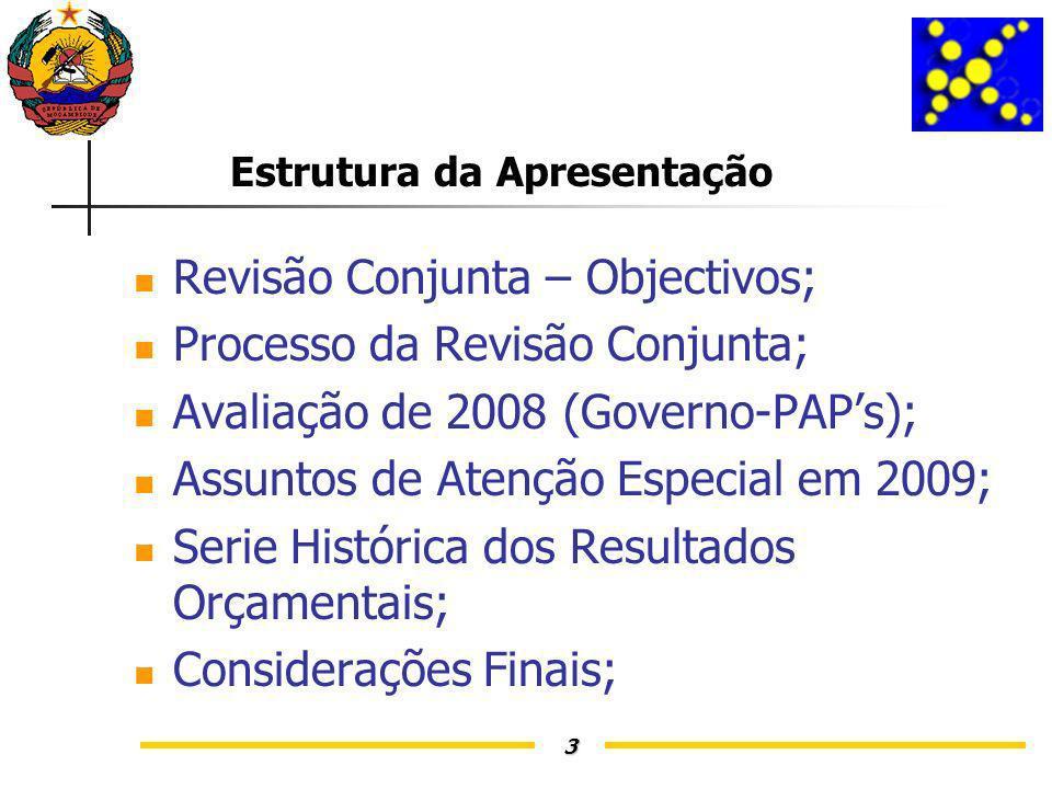 3 Estrutura da Apresentação Revisão Conjunta – Objectivos; Processo da Revisão Conjunta; Avaliação de 2008 (Governo-PAPs); Assuntos de Atenção Especial em 2009; Serie Histórica dos Resultados Orçamentais; Considerações Finais;
