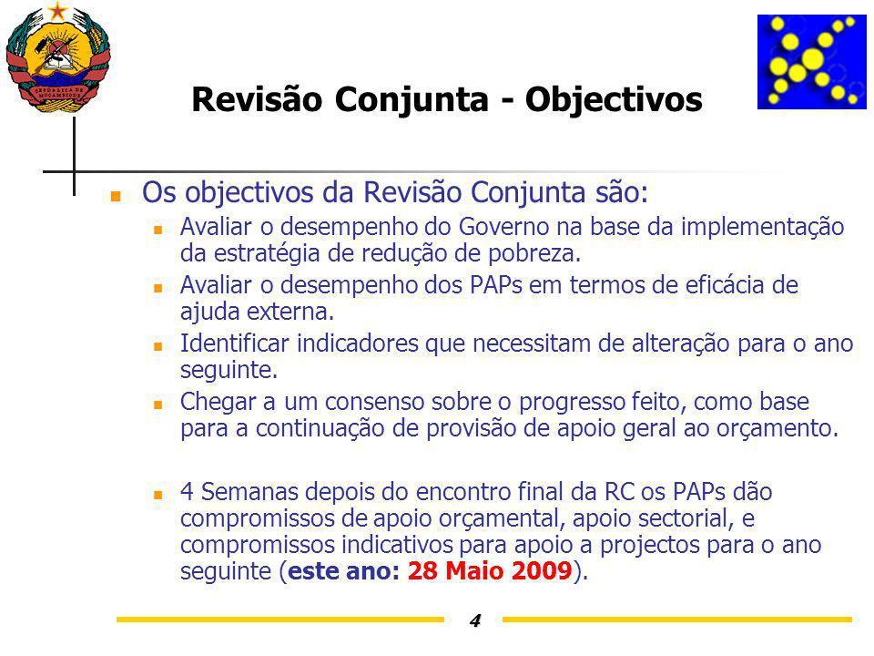 4 Revisão Conjunta - Objectivos Os objectivos da Revisão Conjunta são: Avaliar o desempenho do Governo na base da implementação da estratégia de redução de pobreza.