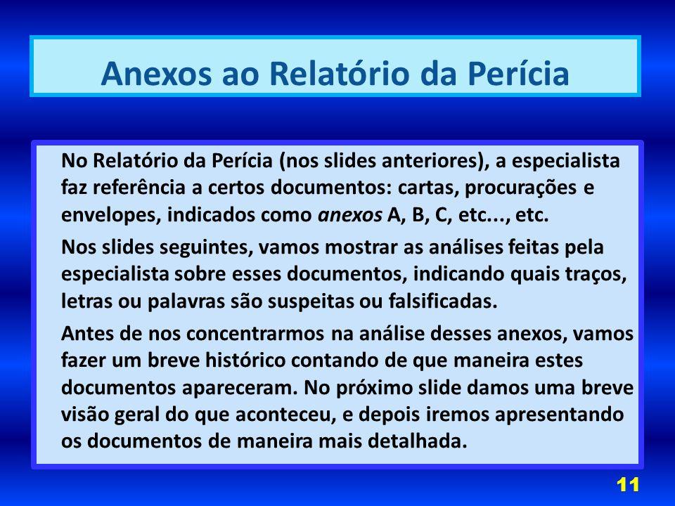 No Relatório da Perícia (nos slides anteriores), a especialista faz referência a certos documentos: cartas, procurações e envelopes, indicados como anexos A, B, C, etc..., etc.