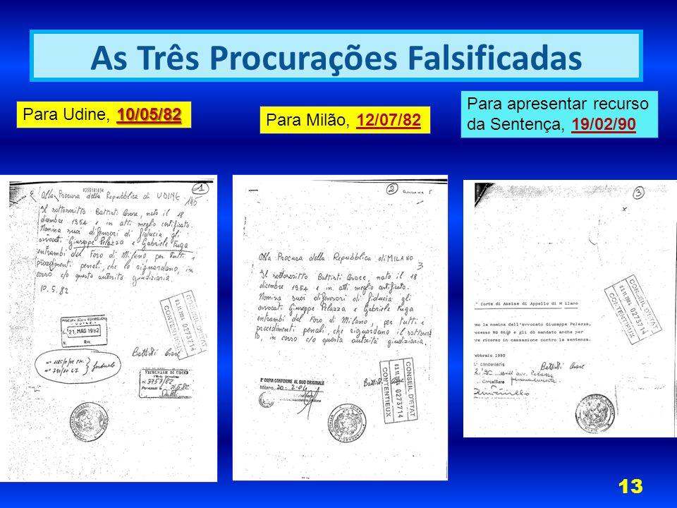 10/05/82 Para Udine, 10/05/82 Para Milão, 12/07/82 Para apresentar recurso da Sentença, 19/02/90 As Três Procurações Falsificadas 13