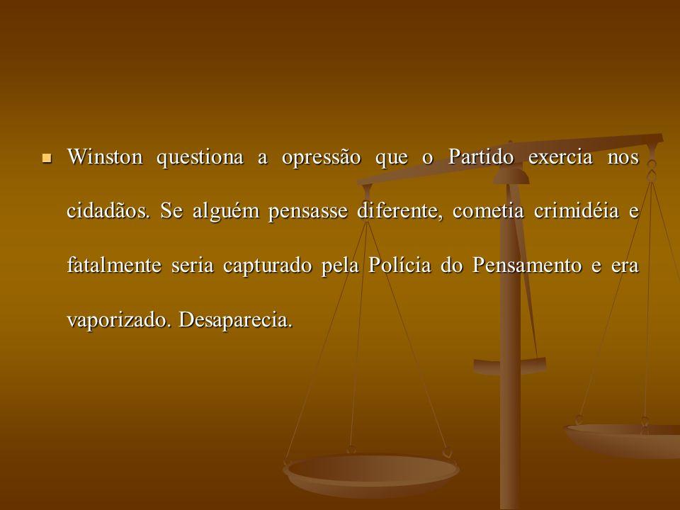 Winston questiona a opressão que o Partido exercia nos cidadãos.