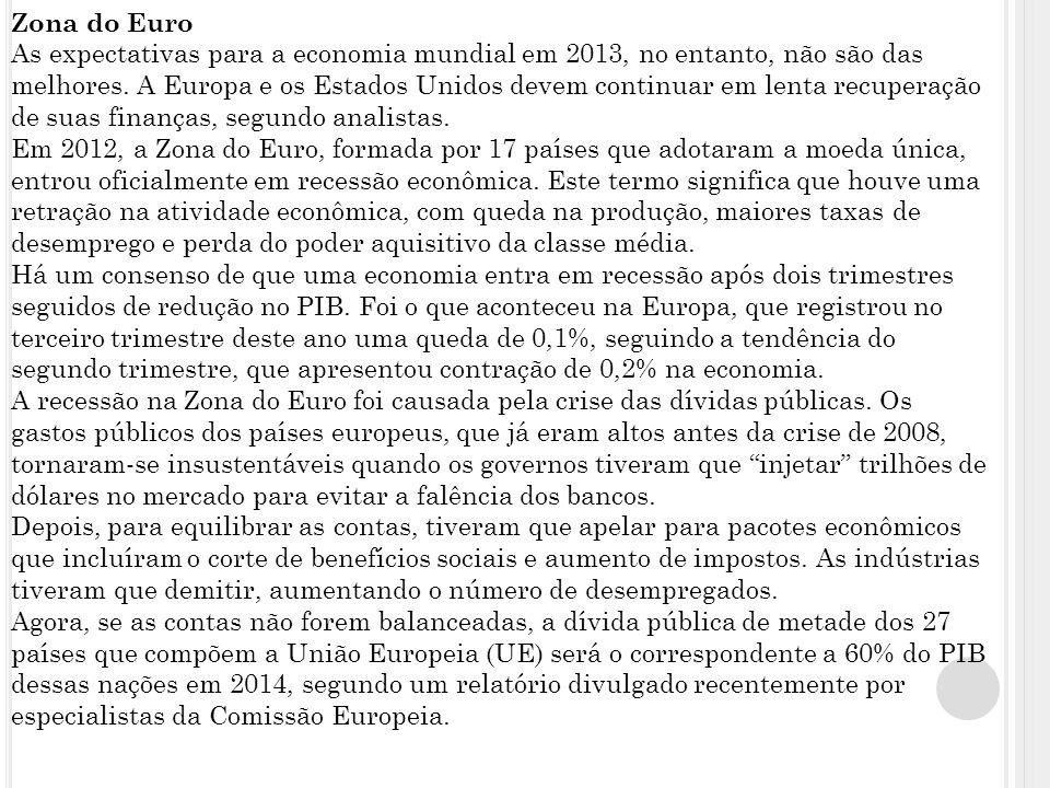 Zona do Euro As expectativas para a economia mundial em 2013, no entanto, não são das melhores.