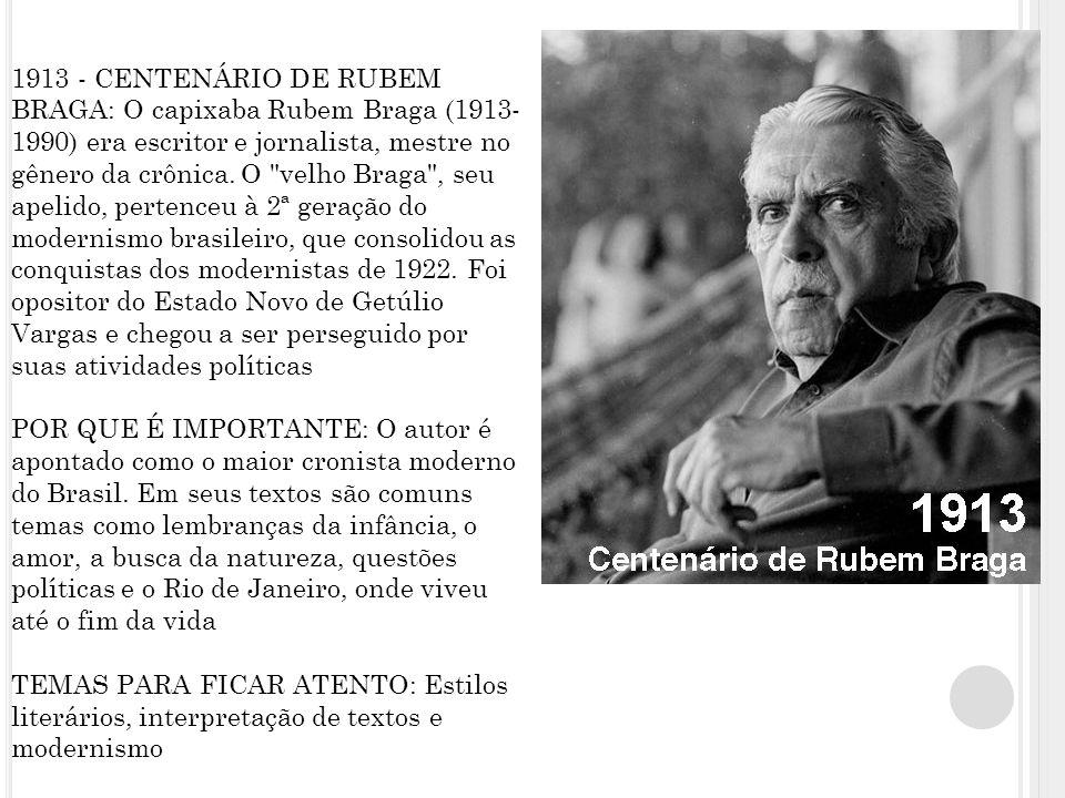 1913 - CENTENÁRIO DE RUBEM BRAGA: O capixaba Rubem Braga (1913- 1990) era escritor e jornalista, mestre no gênero da crônica.