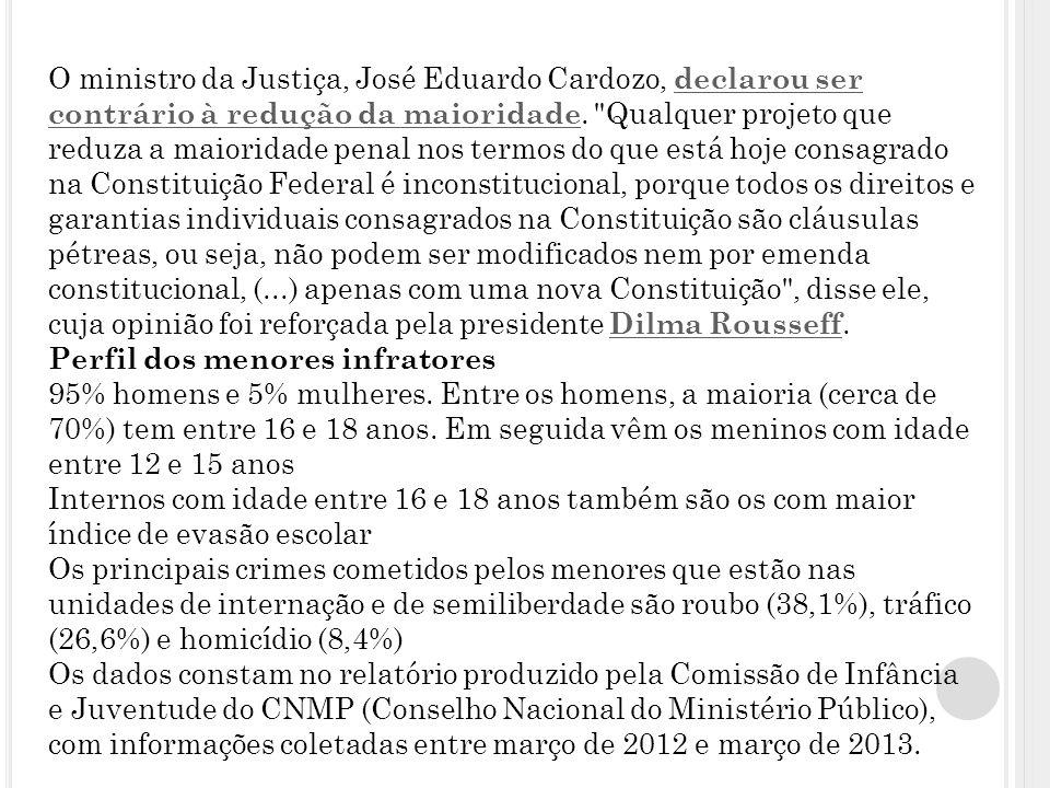 O ministro da Justiça, José Eduardo Cardozo, declarou ser contrário à redução da maioridade.