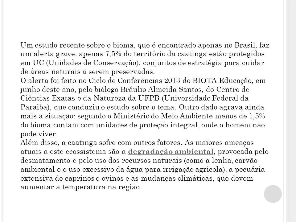 Um estudo recente sobre o bioma, que é encontrado apenas no Brasil, faz um alerta grave: apenas 7,5% do território da caatinga estão protegidos em UC (Unidades de Conservação), conjuntos de estratégia para cuidar de áreas naturais a serem preservadas.