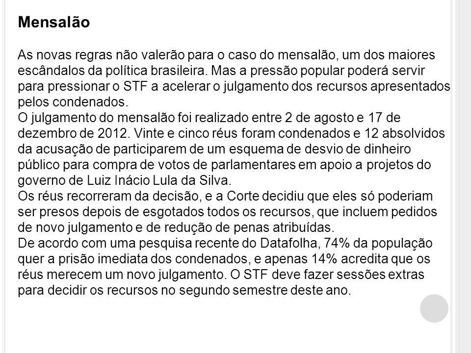Mensalão As novas regras não valerão para o caso do mensalão, um dos maiores escândalos da política brasileira.