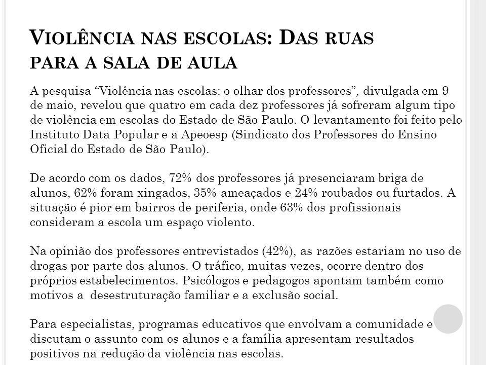 V IOLÊNCIA NAS ESCOLAS : D AS RUAS PARA A SALA DE AULA A pesquisa Violência nas escolas: o olhar dos professores, divulgada em 9 de maio, revelou que quatro em cada dez professores já sofreram algum tipo de violência em escolas do Estado de São Paulo.