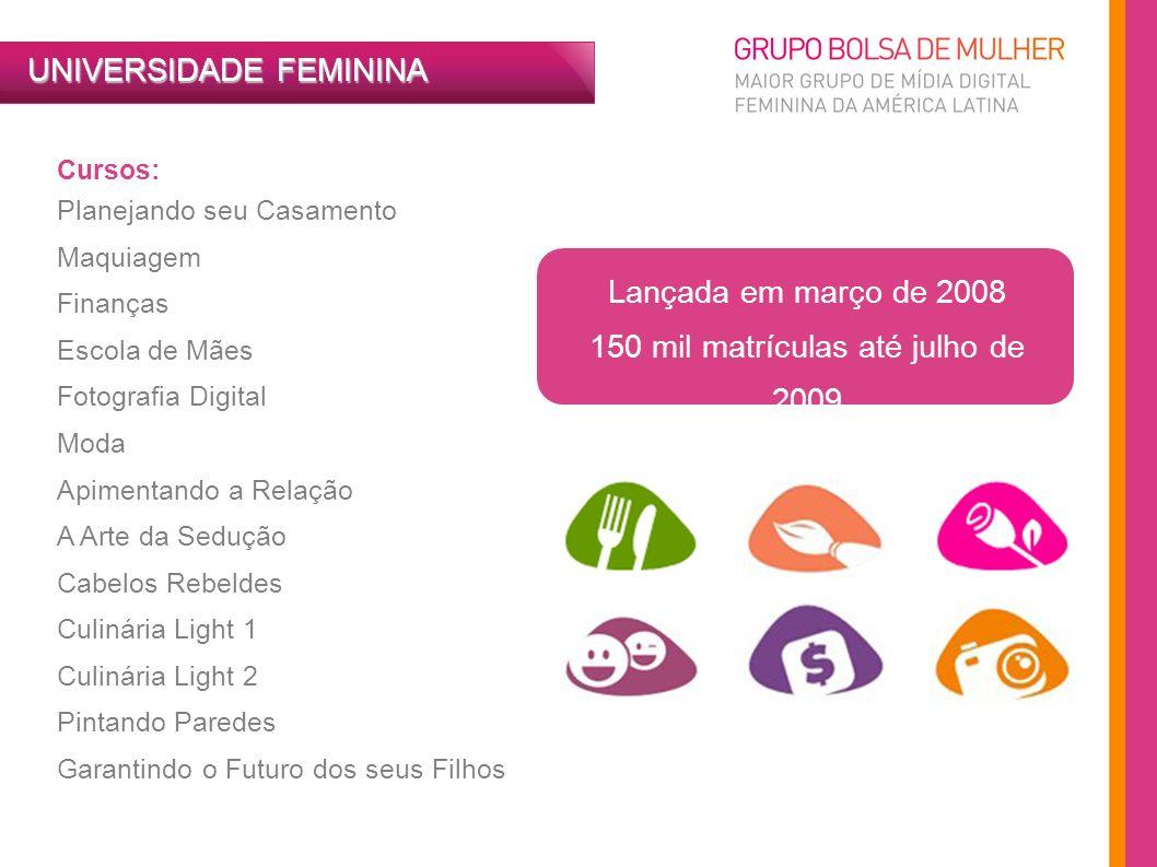 UNIVERSIDADE FEMININA Cursos: Planejando seu Casamento Maquiagem Finanças Escola de Mães Fotografia Digital Moda Apimentando a Relação A Arte da Seduç