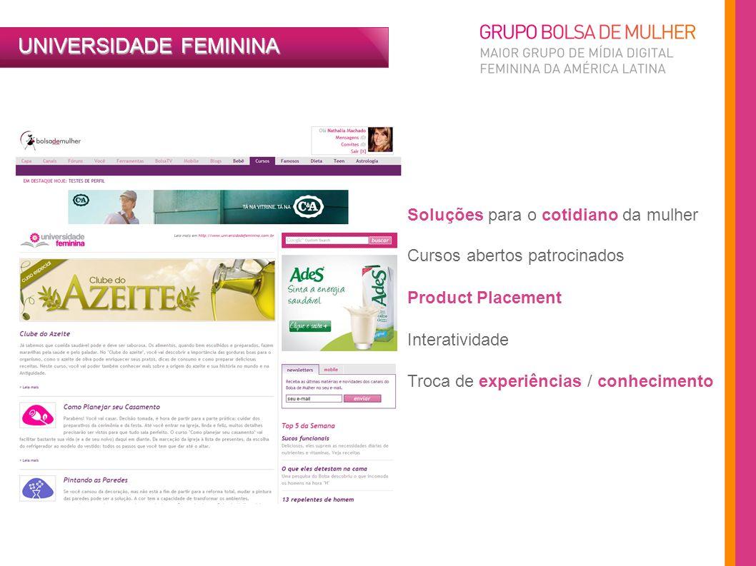 UNIVERSIDADE FEMININA Soluções para o cotidiano da mulher Cursos abertos patrocinados Product Placement Interatividade Troca de experiências / conheci