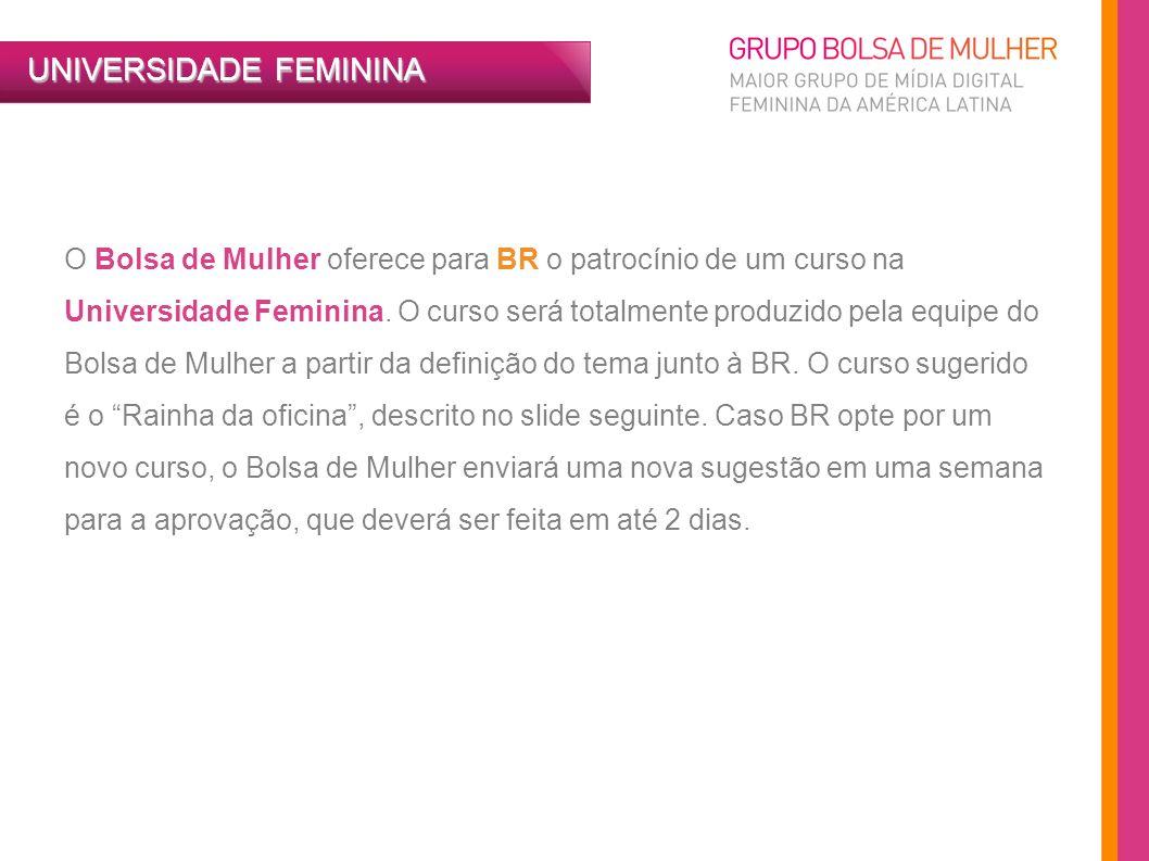 O Bolsa de Mulher oferece para BR o patrocínio de um curso na Universidade Feminina. O curso será totalmente produzido pela equipe do Bolsa de Mulher
