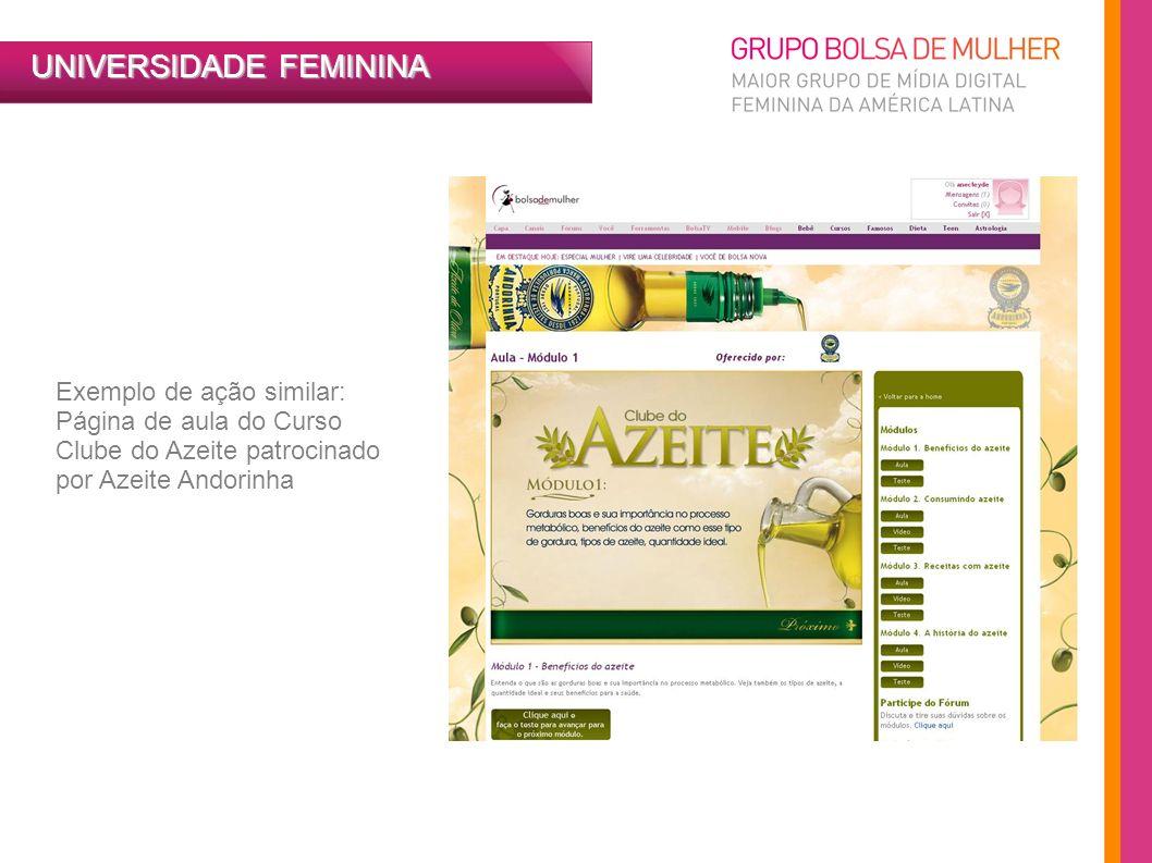 UNIVERSIDADE FEMININA Exemplo de ação similar: Página de aula do Curso Clube do Azeite patrocinado por Azeite Andorinha