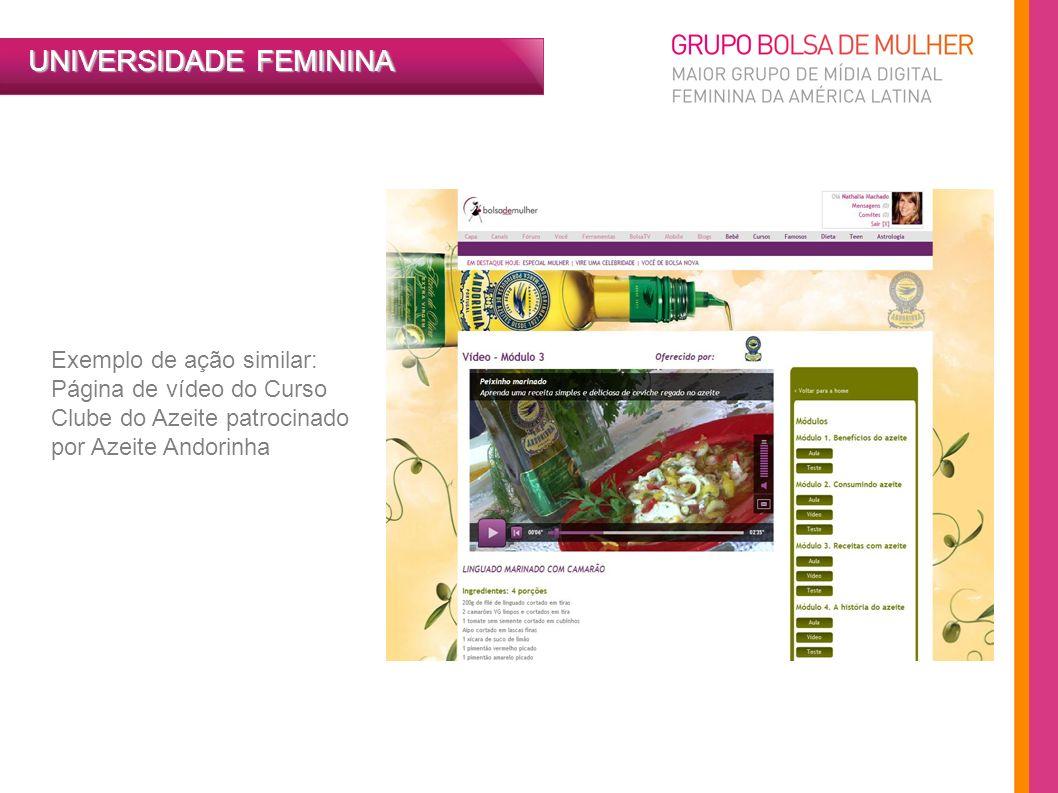 UNIVERSIDADE FEMININA Exemplo de ação similar: Página de vídeo do Curso Clube do Azeite patrocinado por Azeite Andorinha