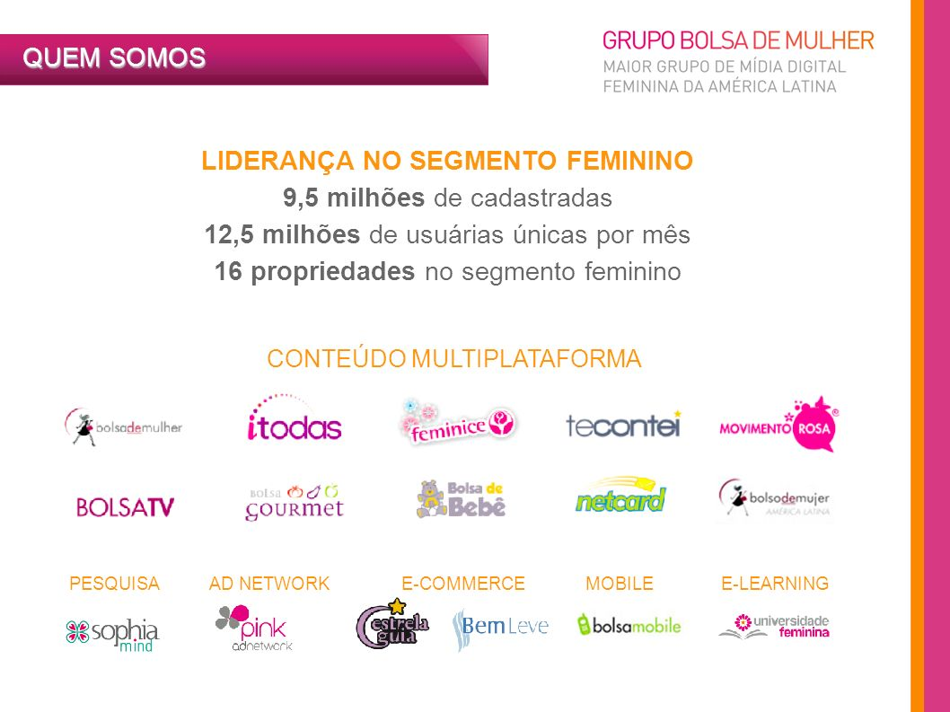 QUEM SOMOS MULTIPLATAFORMA Internet: Bolsa de Mulher, iTodas, Pink Adnetwork, Estrela Guia, Te Contei, Feminice, Bem Leve, Bolsa de Bebê e Universidade Feminina Mobile: site mobile do Bolsa de Mulher.com e app para iPhone de Makeup Vídeo/TV a cabo/Digital Signage: BolsaTV na internet, Canal Sony e YMidia