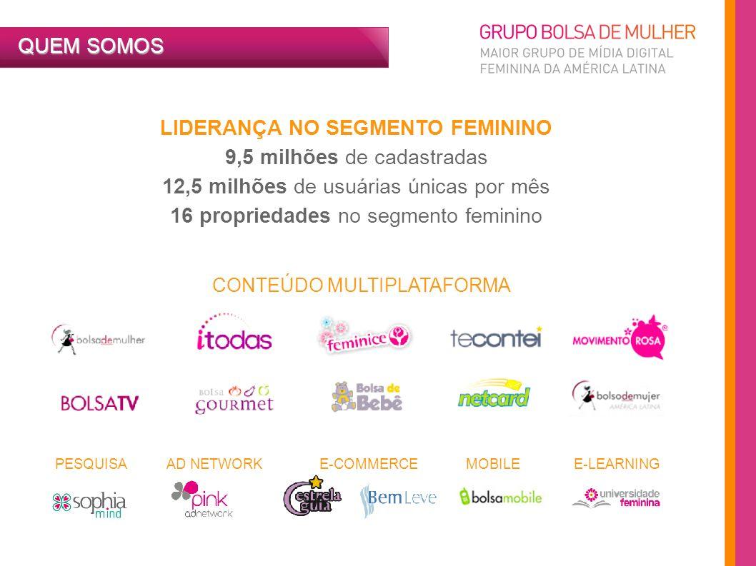 4 LIDERANÇA NO SEGMENTO FEMININO 9,5 milhões de cadastradas 12,5 milhões de usuárias únicas por mês 16 propriedades no segmento feminino QUEM SOMOS CO