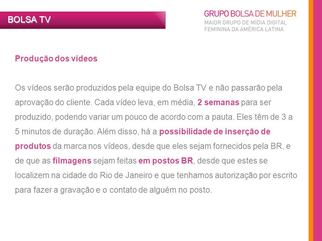 Produção dos vídeos Os vídeos serão produzidos pela equipe do Bolsa TV e não passarão pela aprovação do cliente. Cada vídeo leva, em média, 2 semanas