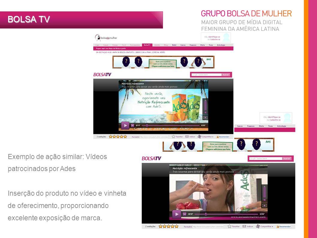 Exemplo de ação similar: Vídeos patrocinados por Ades Inserção do produto no vídeo e vinheta de oferecimento, proporcionando excelente exposição de ma