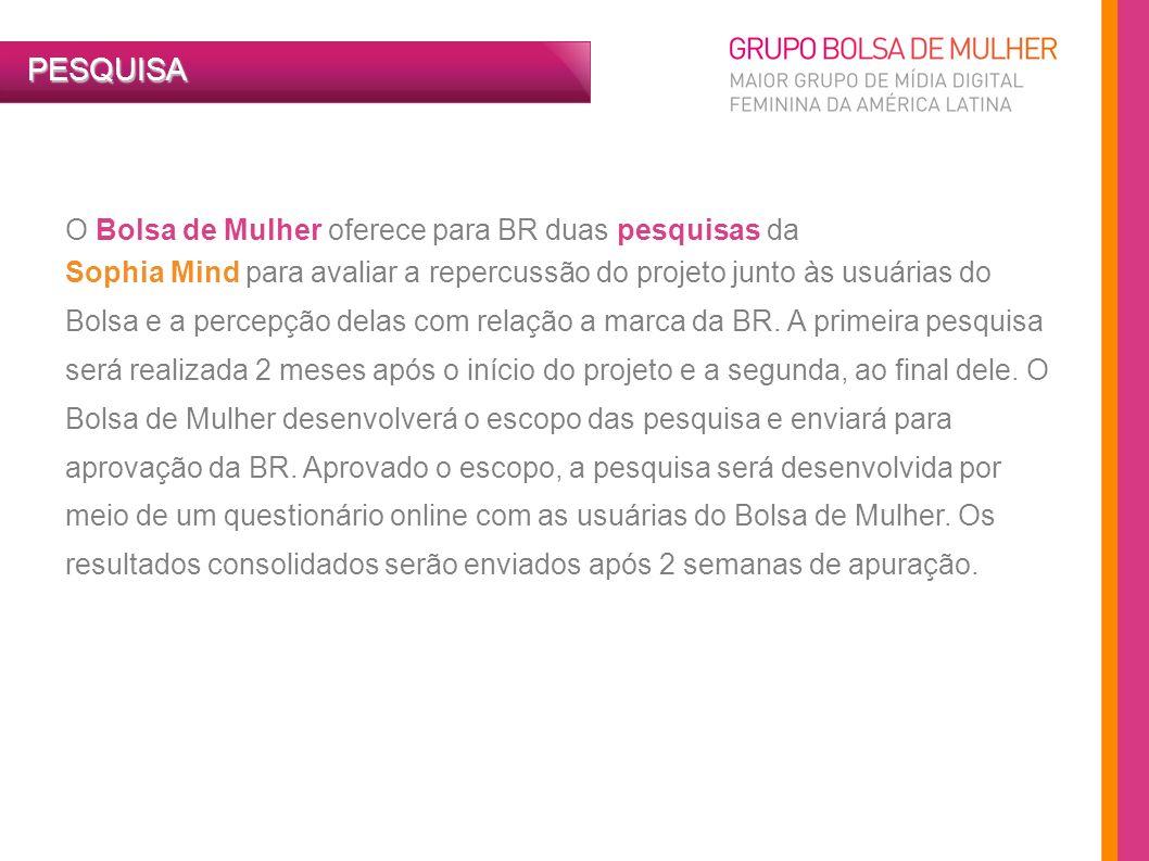PESQUISA O Bolsa de Mulher oferece para BR duas pesquisas da Sophia Mind para avaliar a repercussão do projeto junto às usuárias do Bolsa e a percepçã