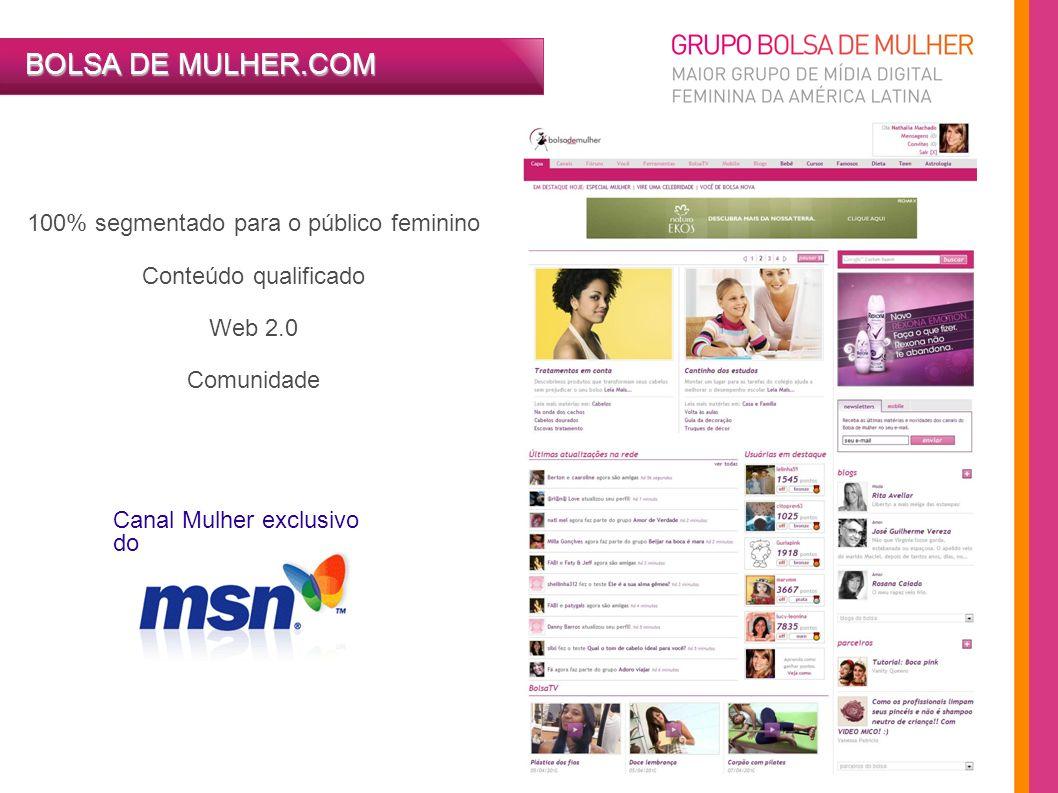 100% segmentado para o público feminino Conteúdo qualificado Web 2.0 Comunidade Canal Mulher exclusivo do BOLSA DE MULHER.COM