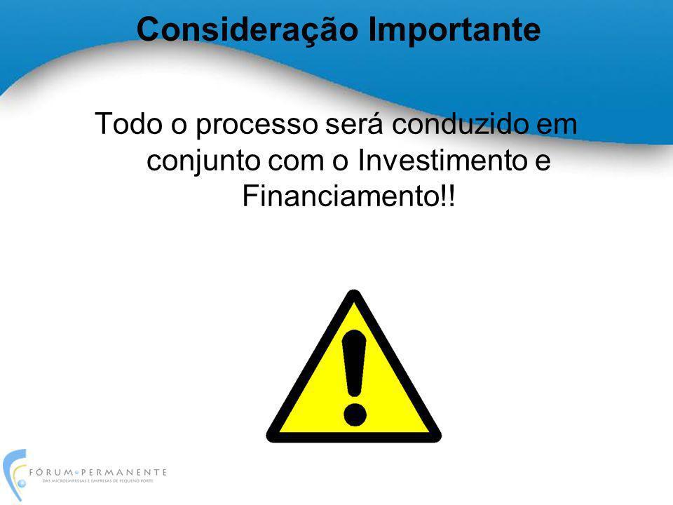 Consideração Importante Todo o processo será conduzido em conjunto com o Investimento e Financiamento!!