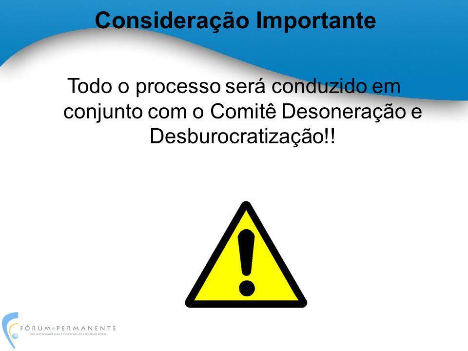Consideração Importante Todo o processo será conduzido em conjunto com o Comitê Desoneração e Desburocratização!!