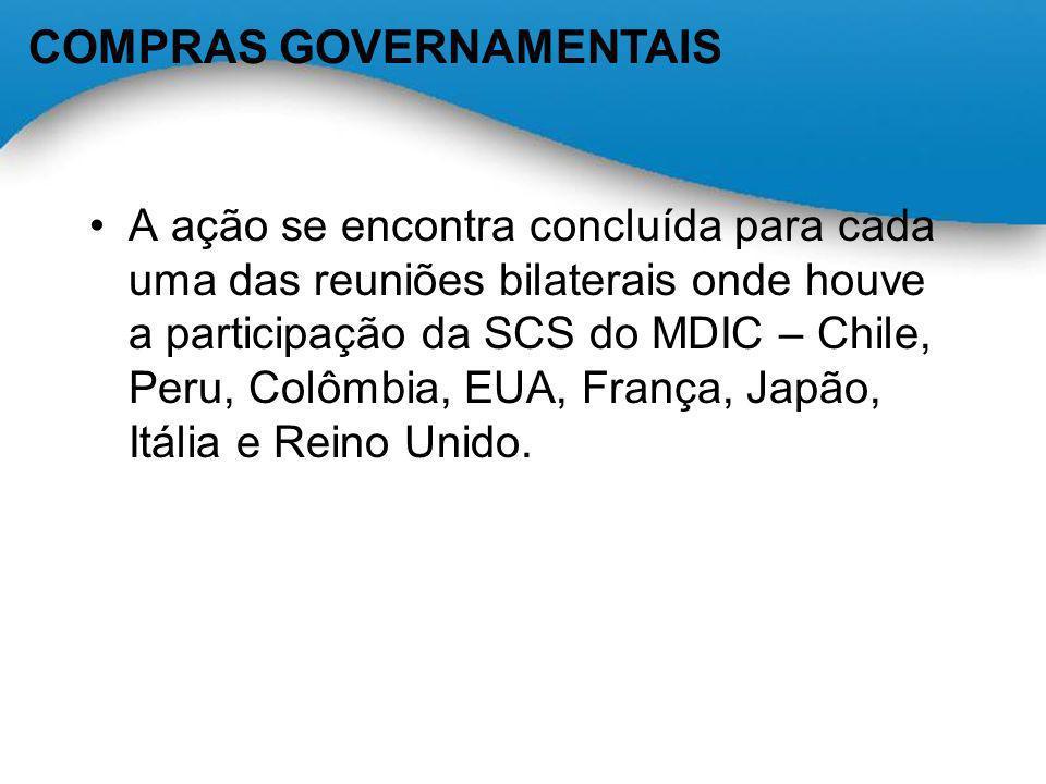 A ação se encontra concluída para cada uma das reuniões bilaterais onde houve a participação da SCS do MDIC – Chile, Peru, Colômbia, EUA, França, Japã